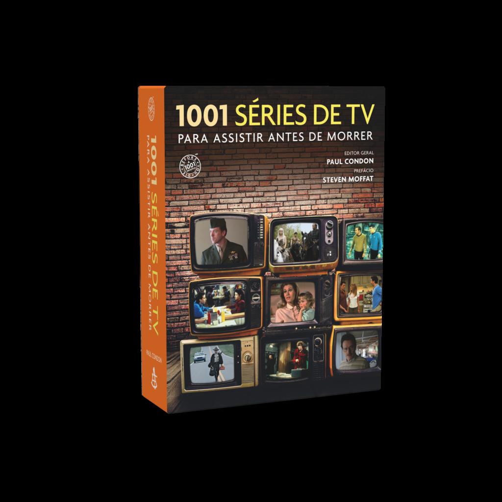 """Capa de """"1001 Séries de TV Para Assistir Antes de Morrer"""" da Editora Sextante"""