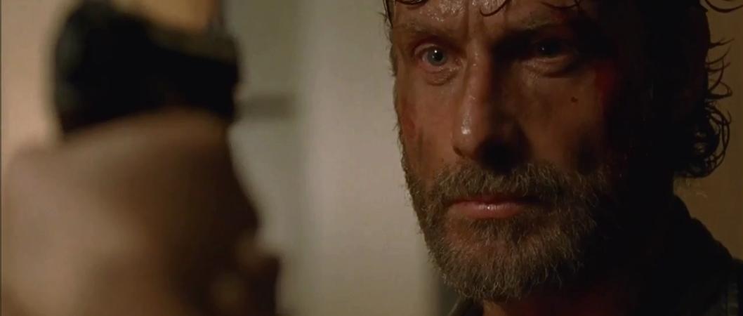 Rick (Andrew Lincoln) em cena do episódio 8x03 de The Walking Dead
