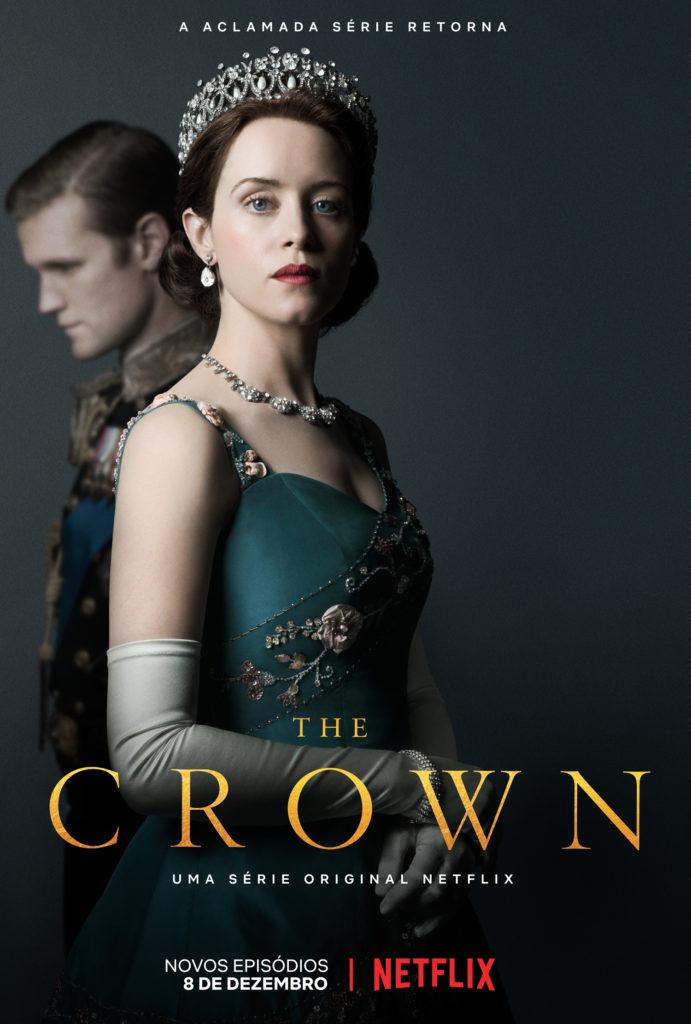 Claire Foy e Matt Smith como Rainha Elizabeth II e Príncipe Phillip em pôster de The Crown