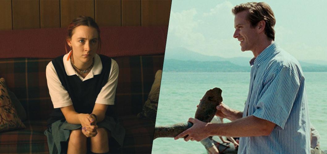 Saoirse Ronan em Lady Bird e Armie Hammer em Me Chame Pelo Seu Nome