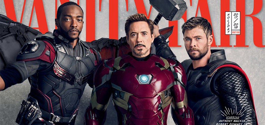 Falcão (Anthony Mackie), Homem de Ferro (Robert Downey Jr.) e Thor (Chris Hemsworth) na capa da Vanity Fair
