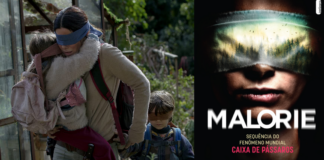 Cena do filme Birdbox da Netflix/ Capa do livro Malorie, da editora Intrínseca