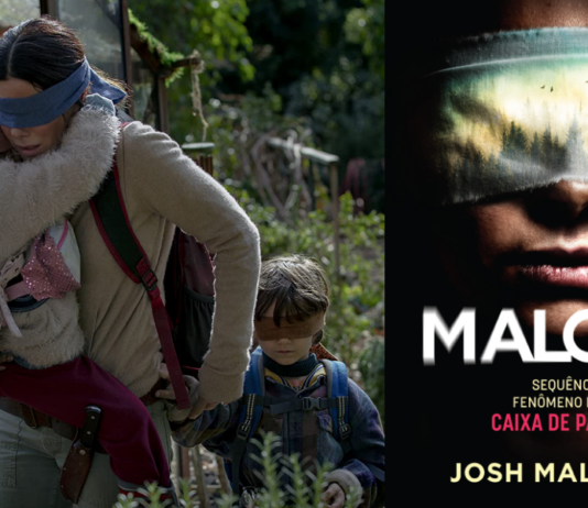 Cena do filme Birdbox da Netflix/ Capa do livro Malorie, da editora Intrínseca